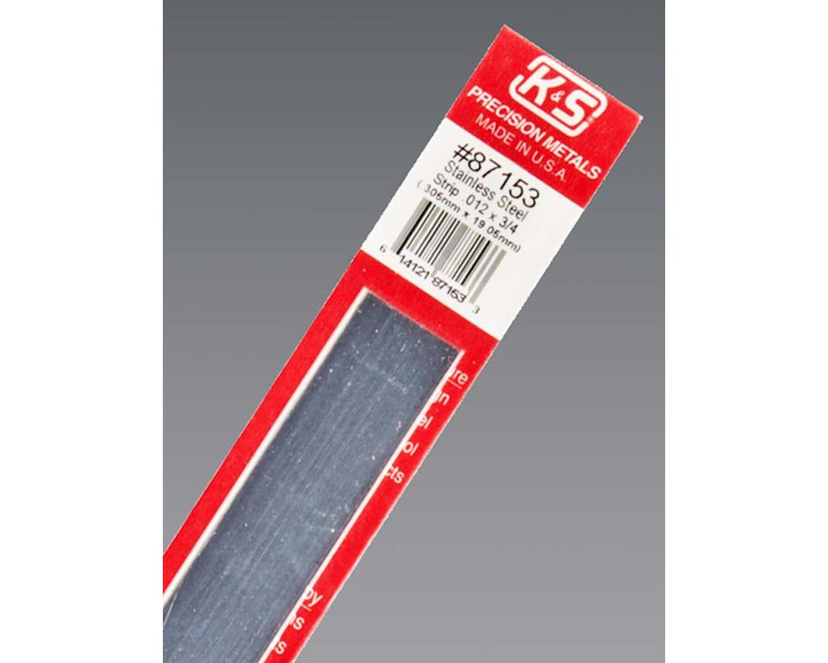 "K&S Engineering Stainless Steel Strip .012 X 3/4"", Carded"