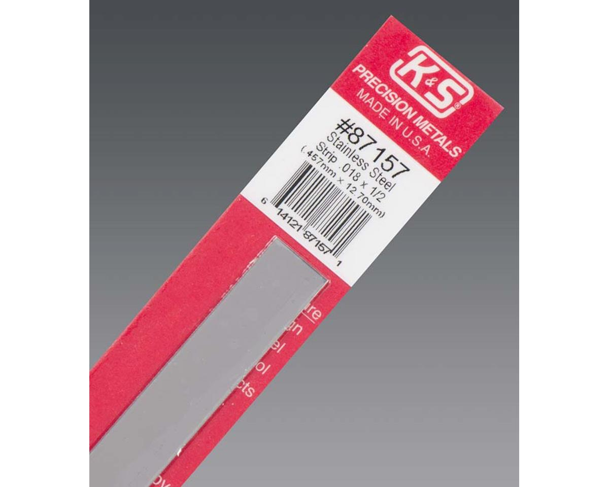 """K&S Engineering Stainless Steel Strip .016 X 1/2"""", Carded"""