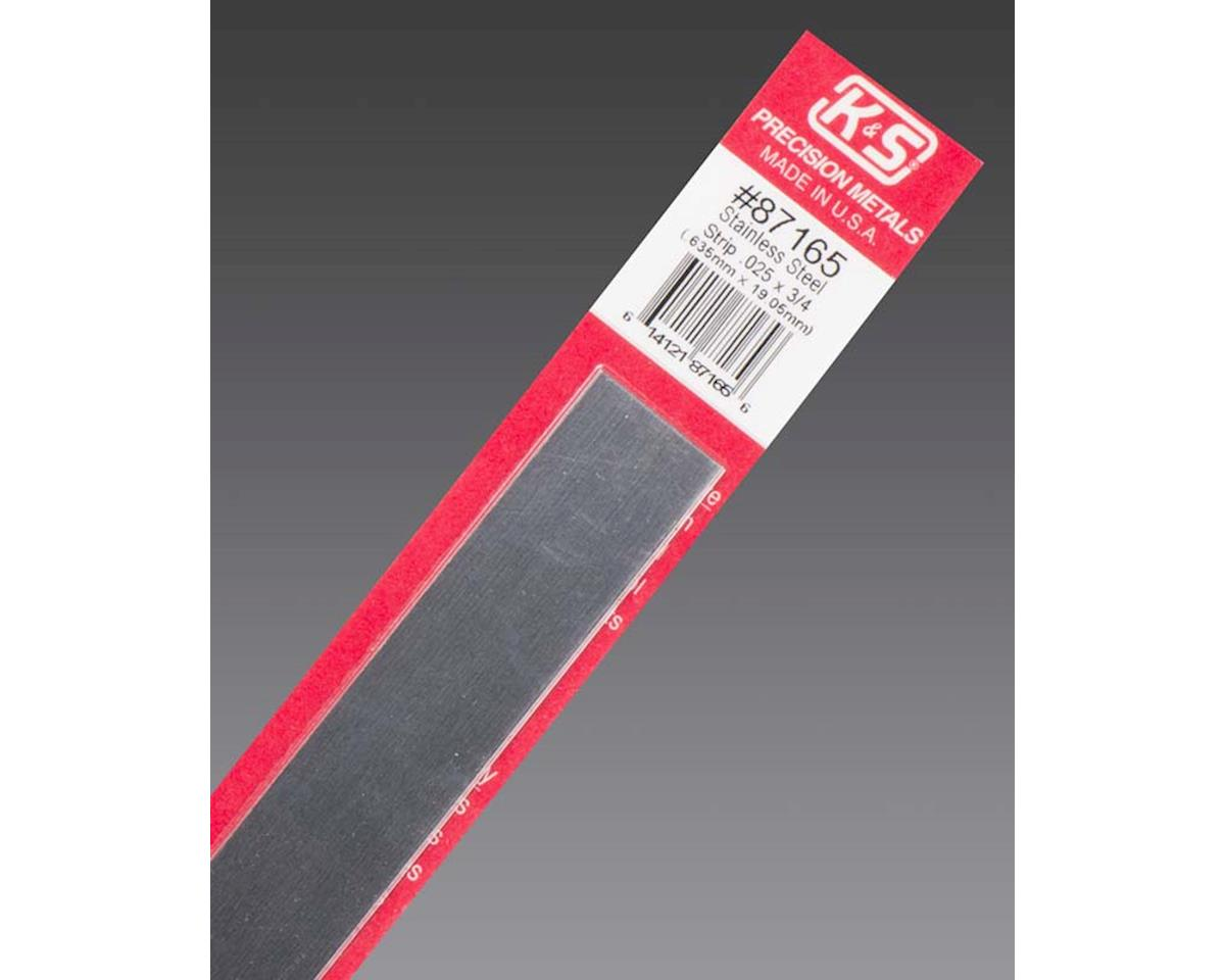 """K&S Engineering Stainless Steel Strip .025 X 3/4"""", Carded"""
