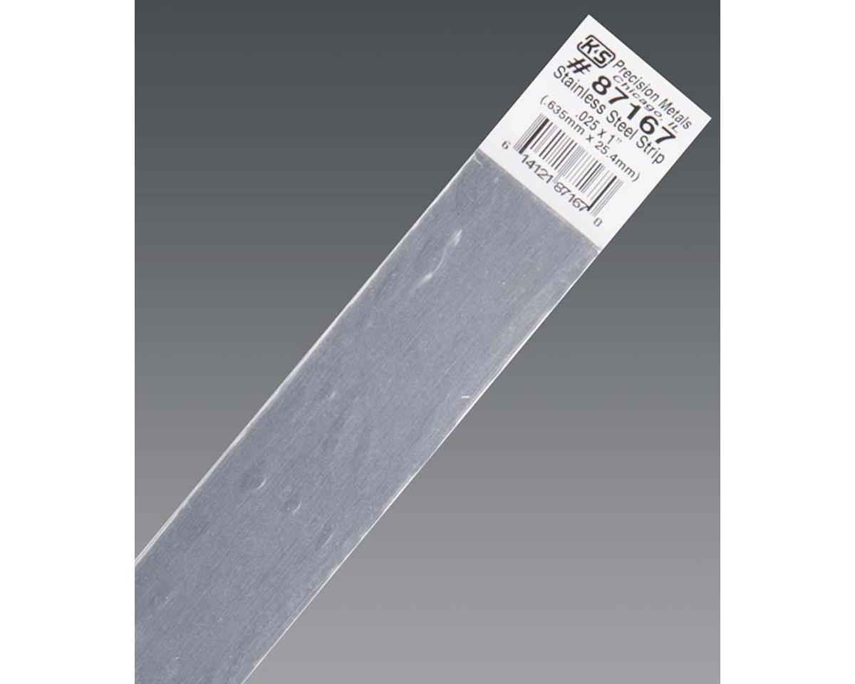 """K&S Engineering Stainless Steel Strip .025 X 1"""", Carded"""