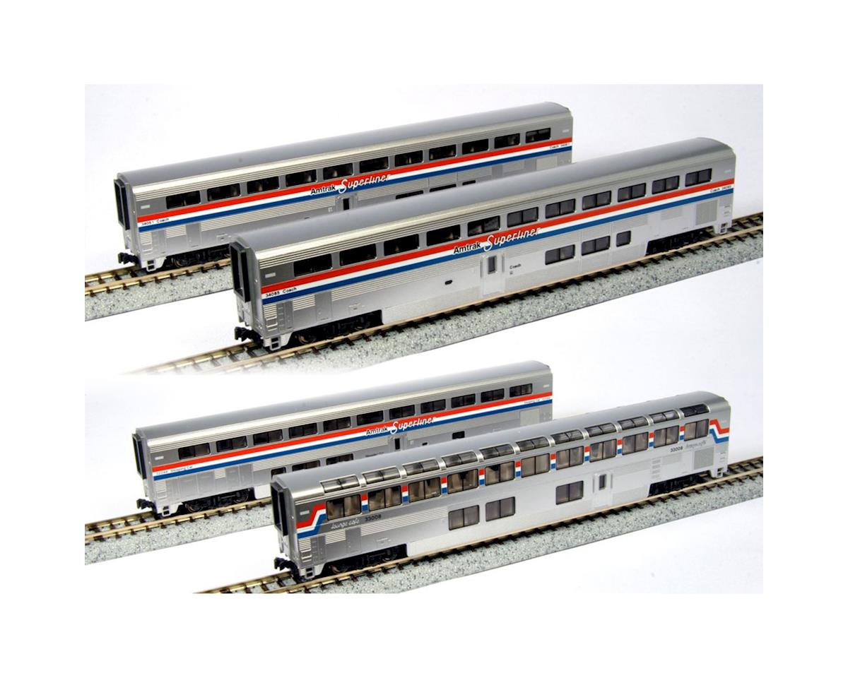 N Superliner Set, Amtrak/Phase III B (4) by Kato