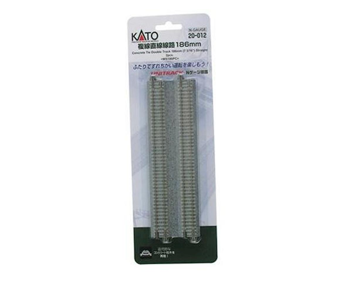 "Kato N 7-5/16"" Double Track Straight, Concrete Ties (2)"