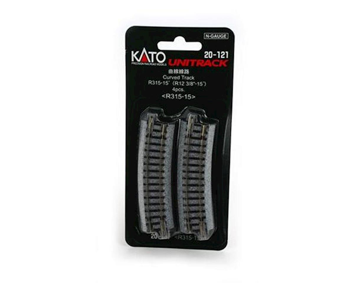"Kato N 315mm 12-3/8"" Radius Curve 15-Degree (4)"