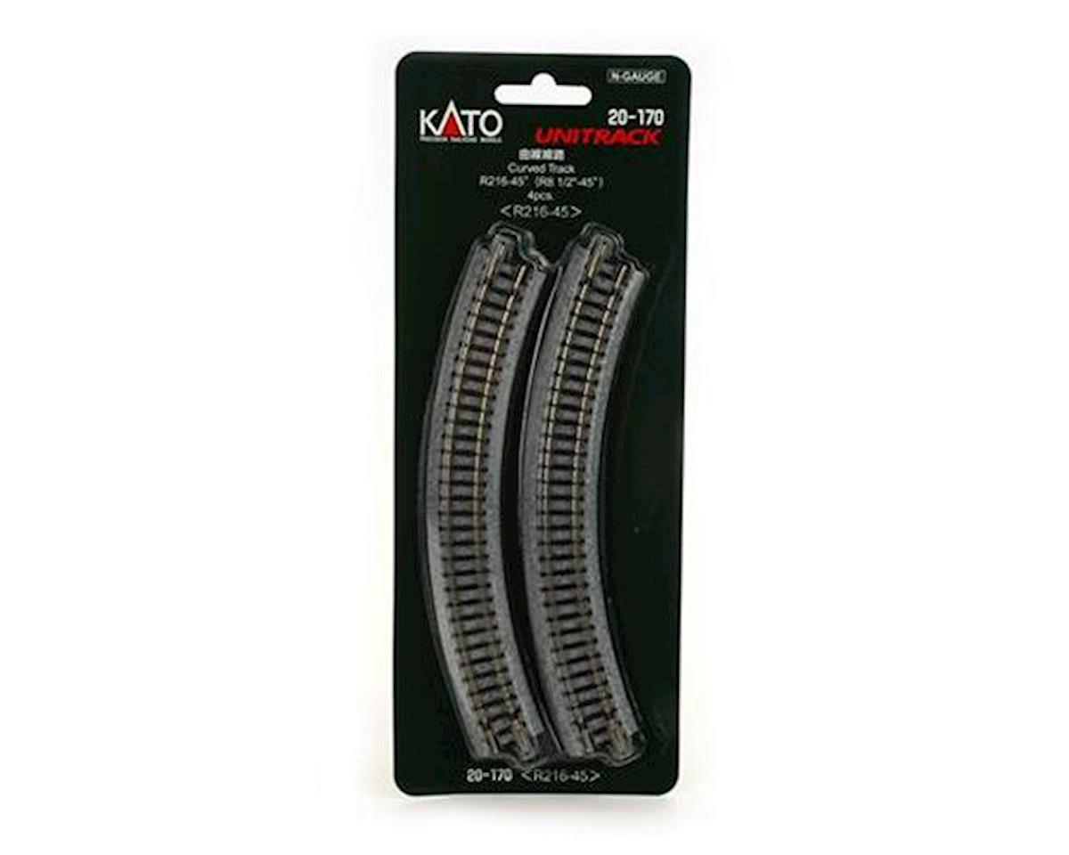 "Kato N 216mm 8-9/16"" Radius Curve 45-Degree (4)"