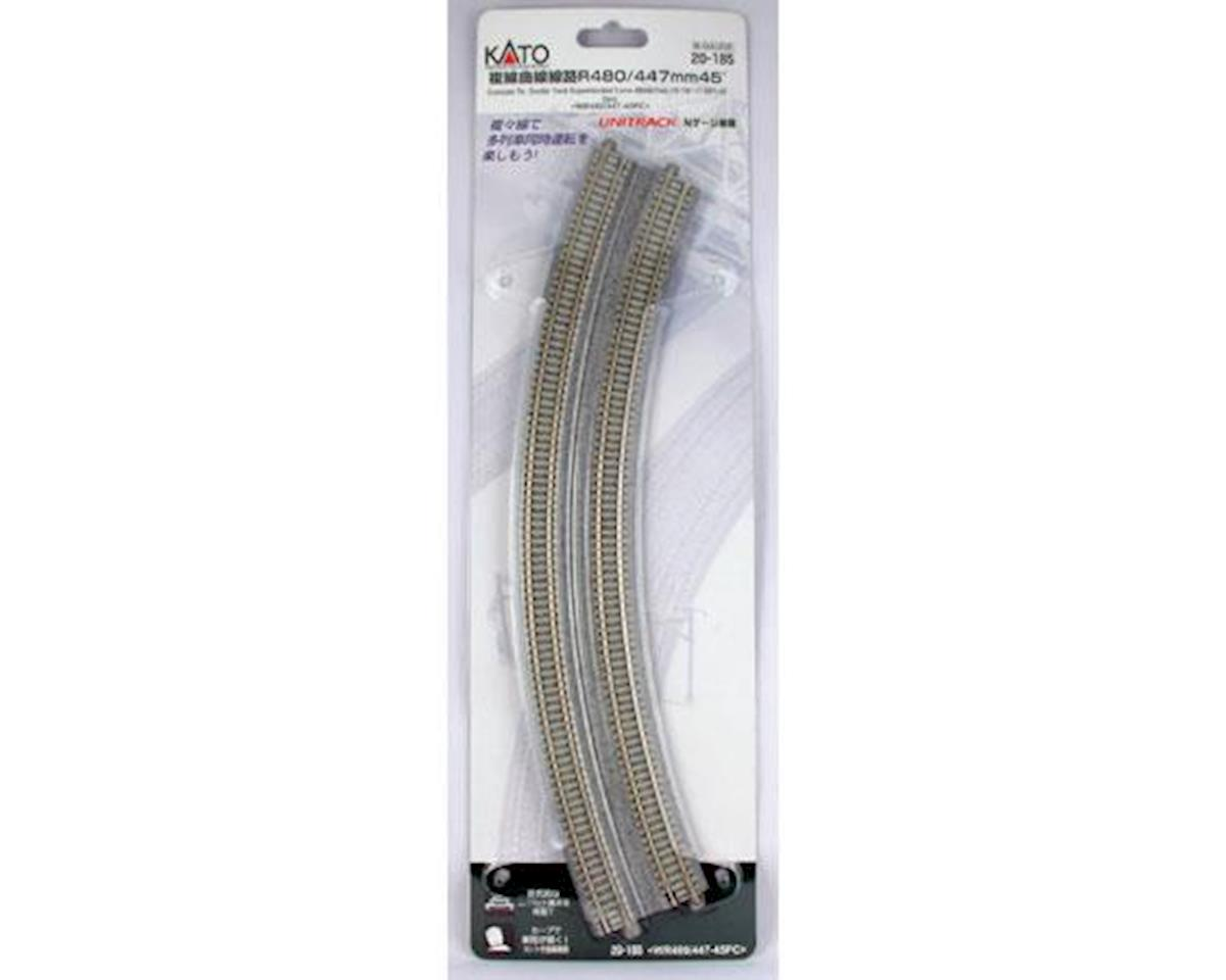 "Kato N 18.9""/17.6"" 45-Degree Dbl Curve, Concrete Tie(2)"