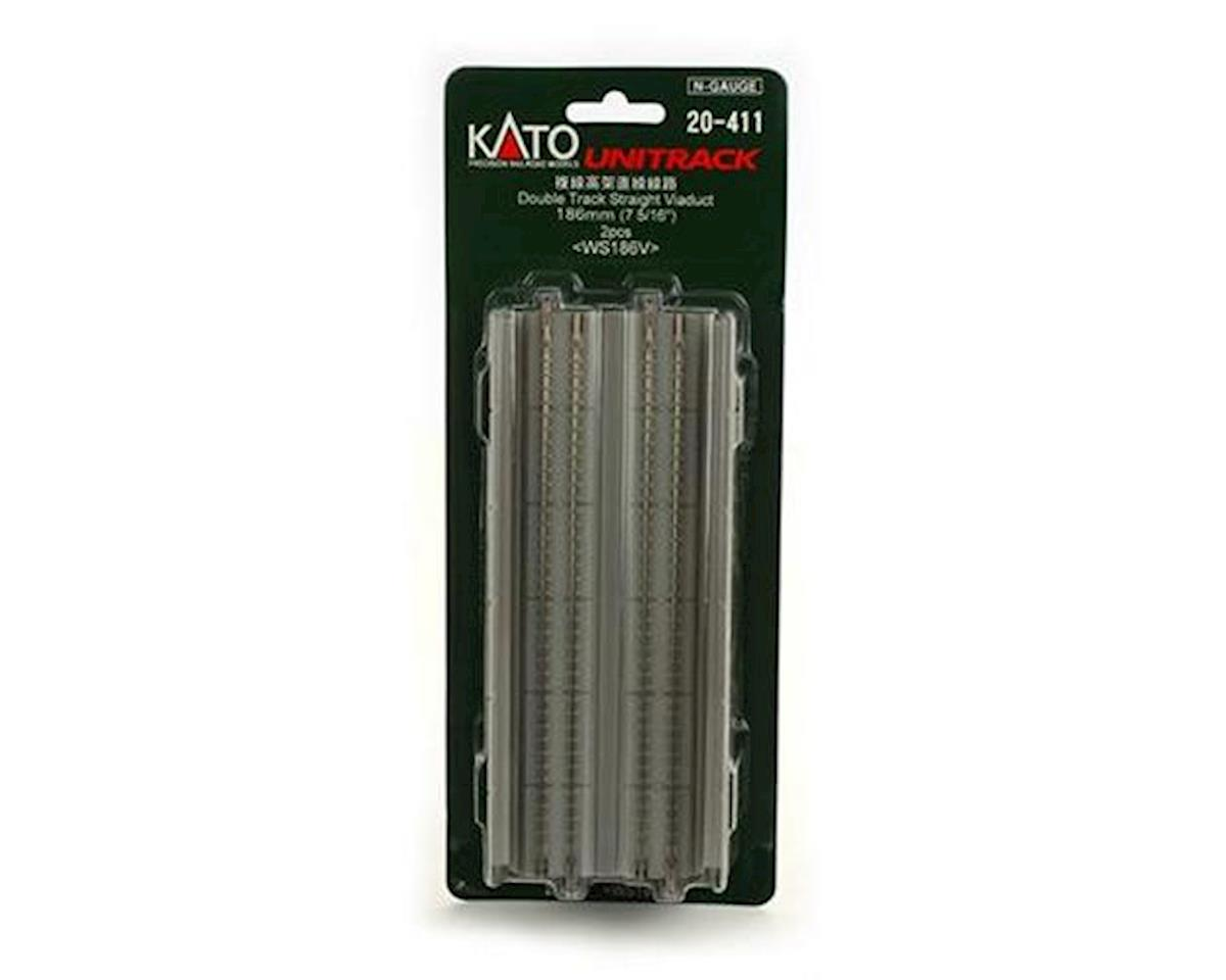 "Kato N 186mm 7-5/16"" Straight Dbl Viaduct, Concrete (2)"