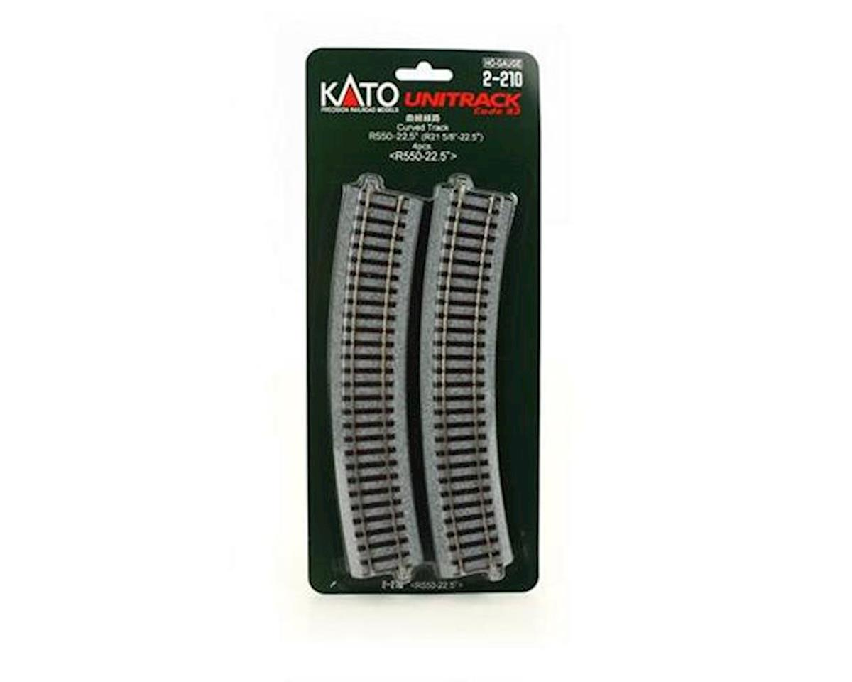"Kato HO 550mm 21-5/8"" Radius Curve 22.5-Degree (4)"