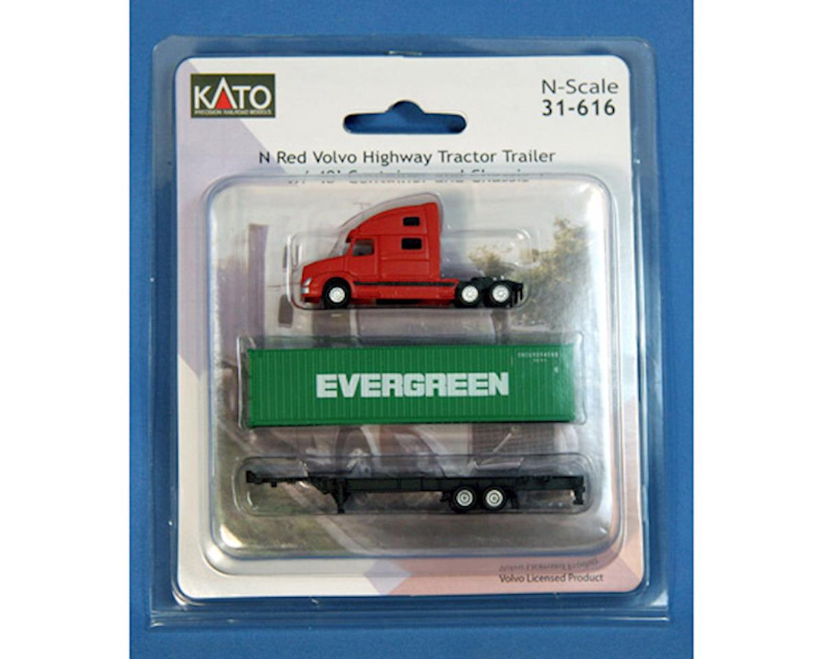 N Volvo Tractor w/40' Container, Evergreen by Kato