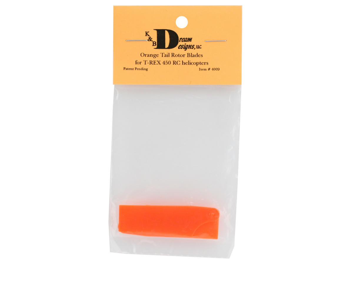Image 2 for KBDD International T-Rex 450 60mm Neon Tail Blades (Orange)