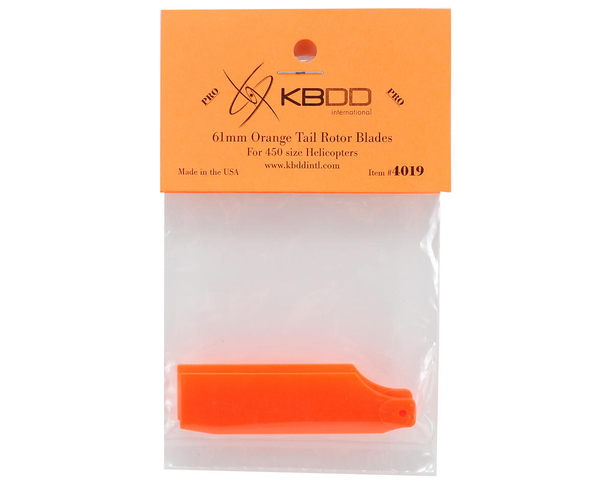 KBDD International T-REX 450 Pro 61mm Neon Tail Blades (Orange)