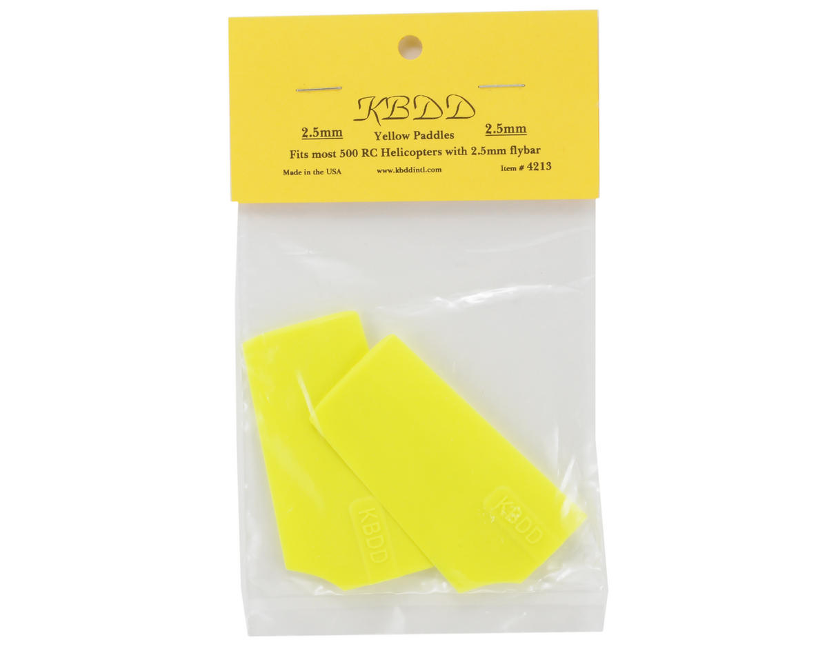 KBDD International HP 500 2.5mm Flybar Paddles (Yellow)