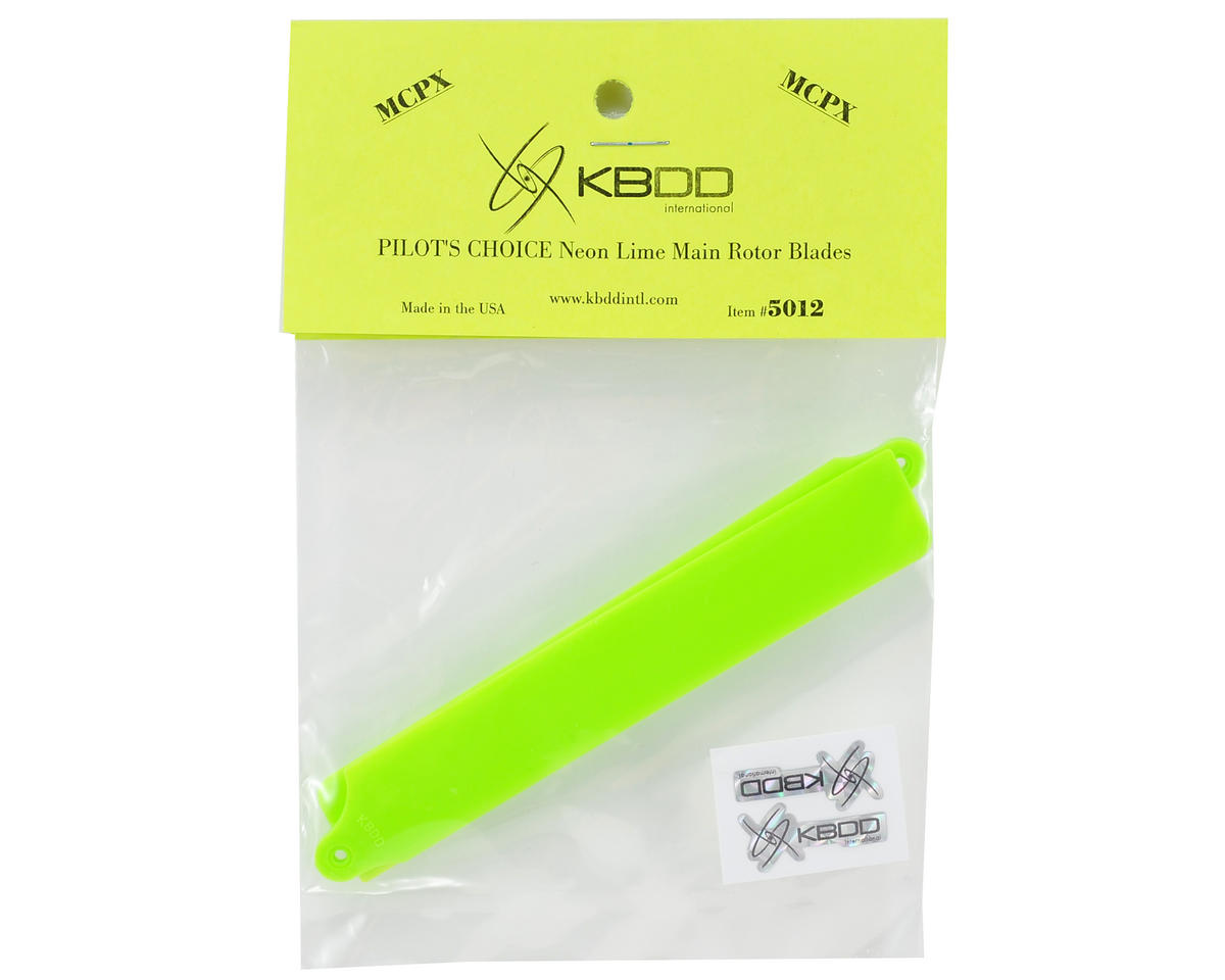 "KBDD International Blade mCP X ""Pilot's Choice"" Main Blade Set (Neon Lime)"