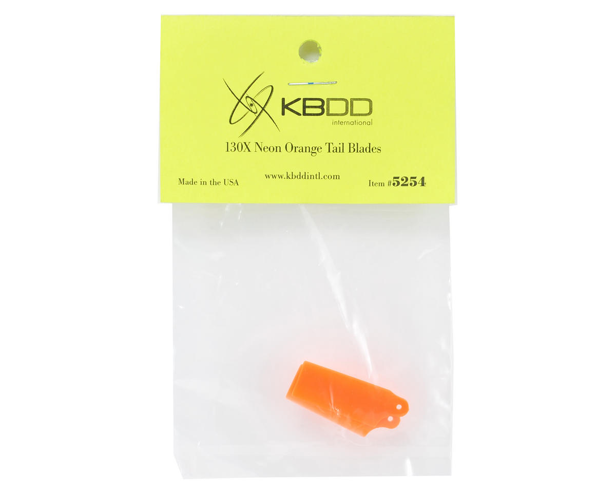 KBDD International Blade 130 X Extreme Edition Tail Blade Set (Neon Orange)