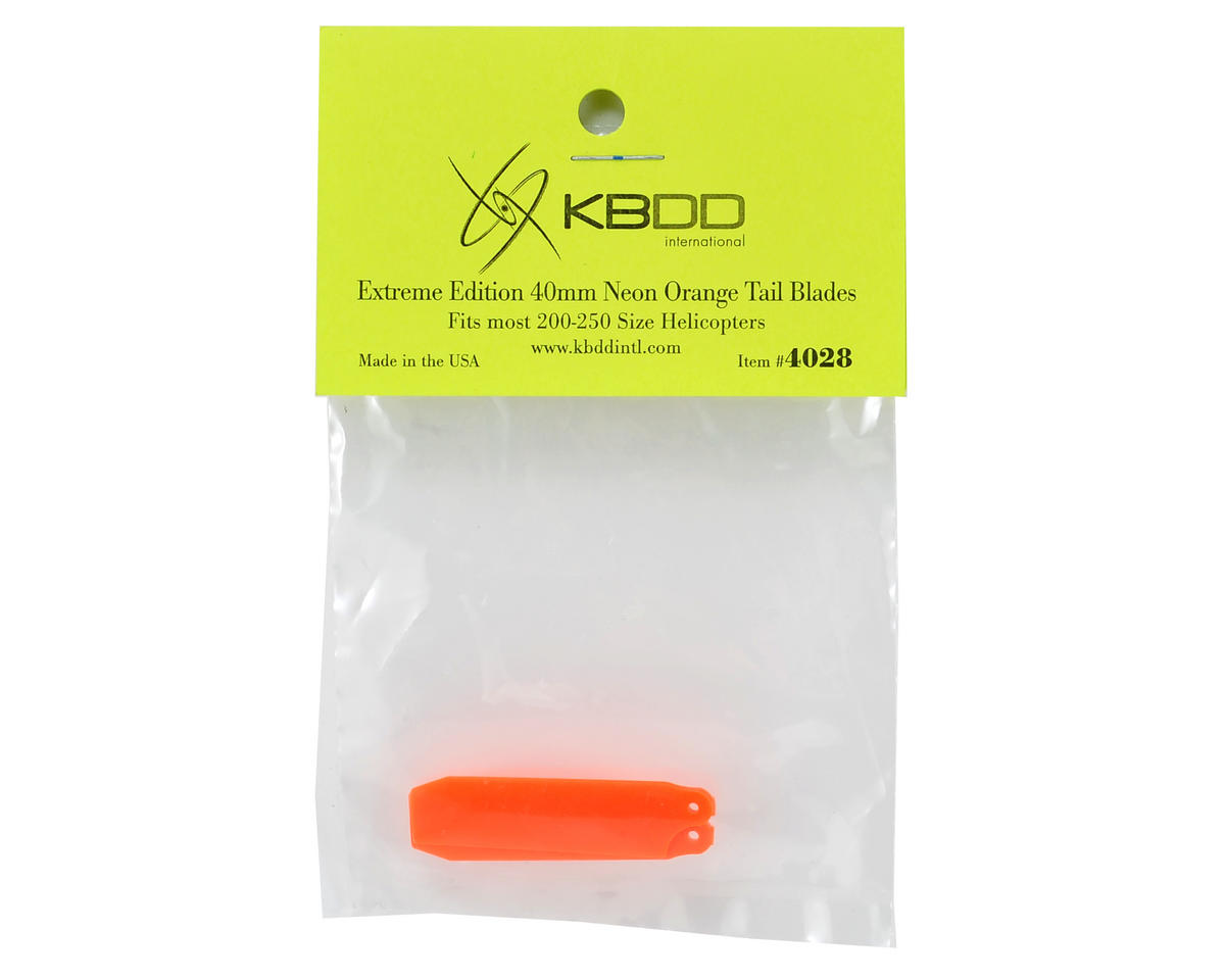 KBDD International HP 200/250 40mm Extreme Tail Blade (Neon Orange) (2)