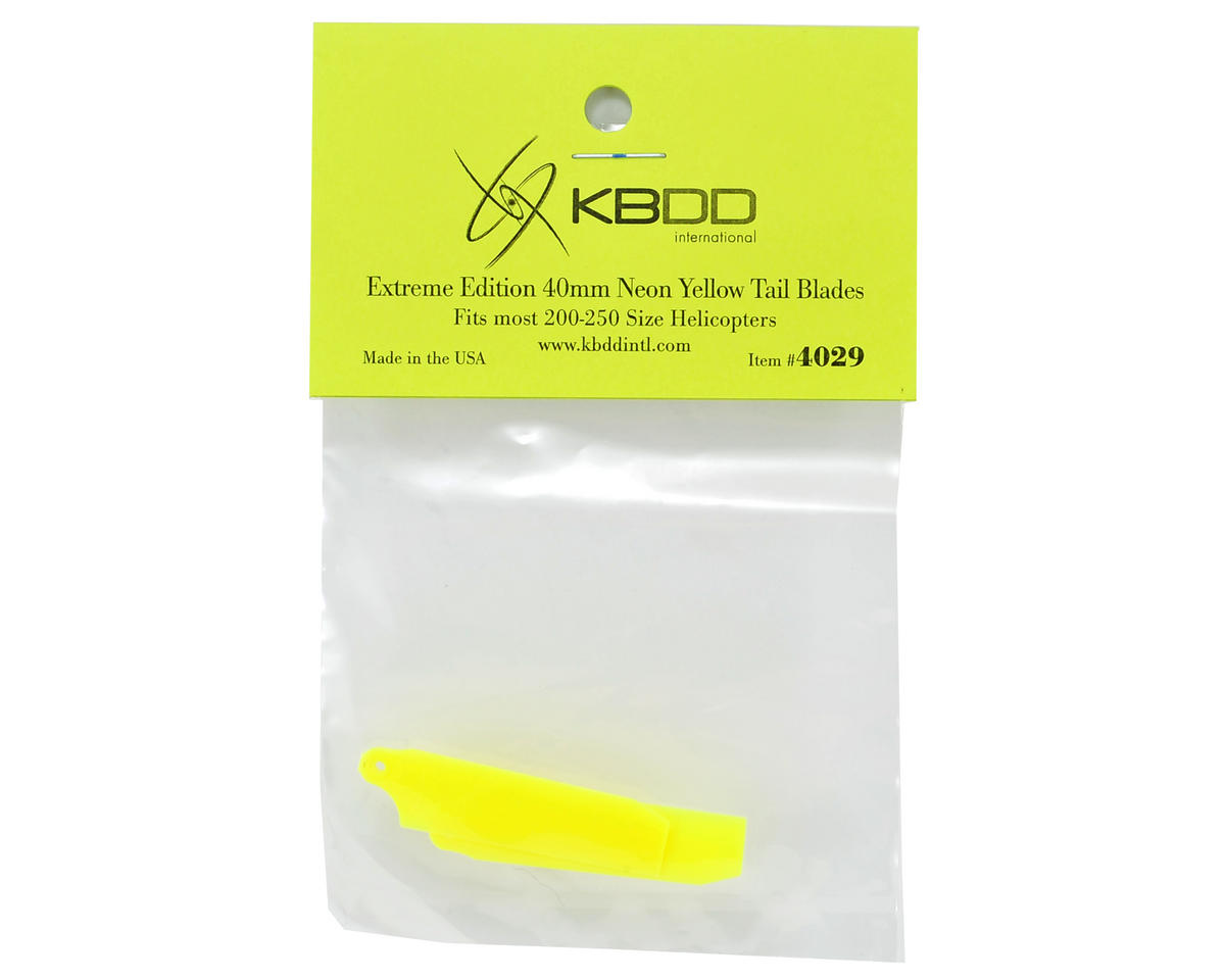 KBDD International HP 200/250 40mm Extreme Tail Blade (Neon Yellow) (2)