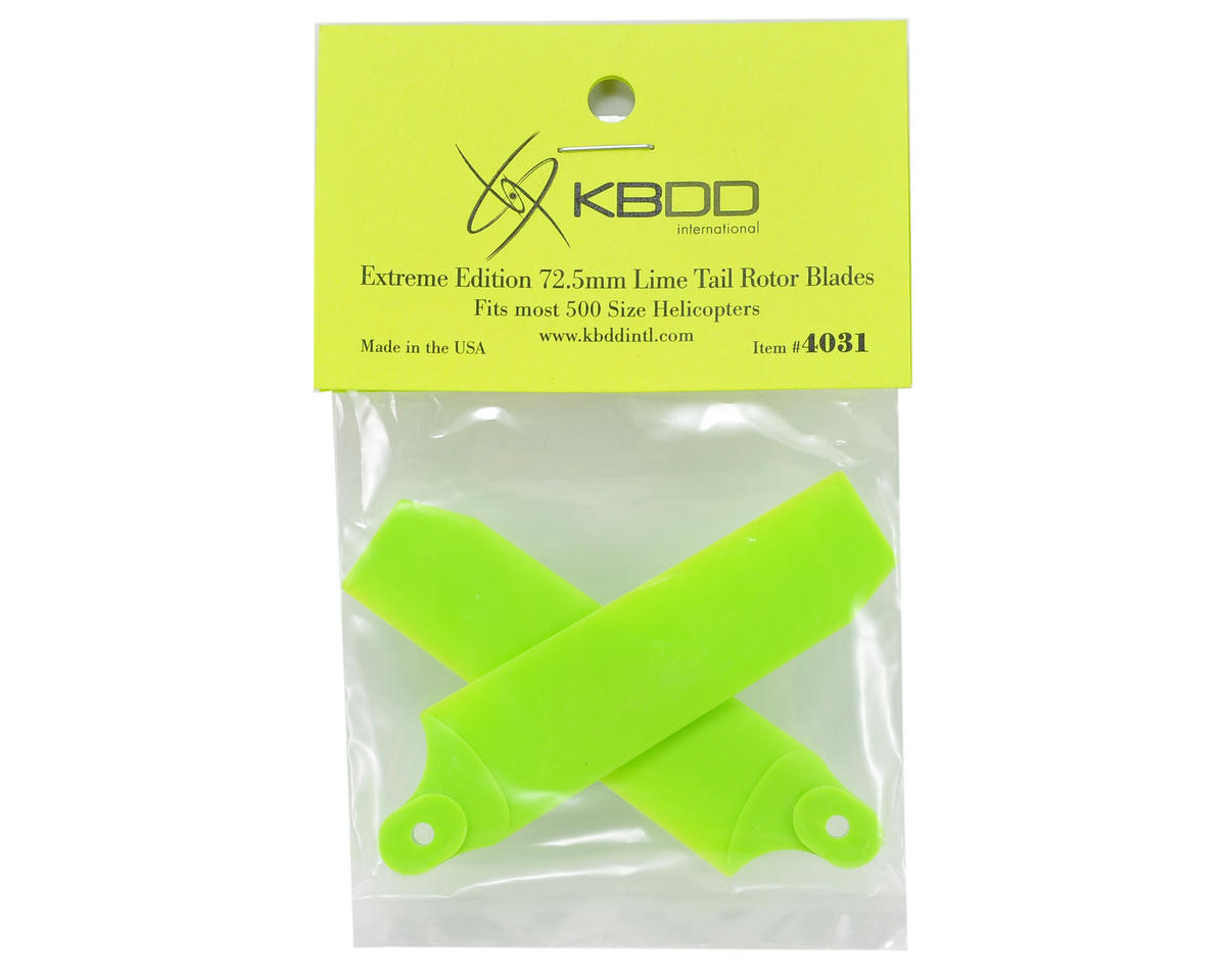 KBDD International Extreme Edition 72.5mm Tail Blade Set w/5mm Root (Neon Lime)