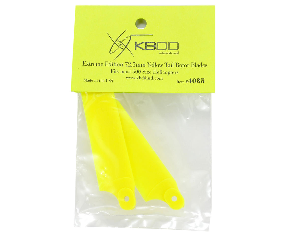 KBDD International 72.5mm Extreme Tail Blade w/5mm Root (Neon Yellow)