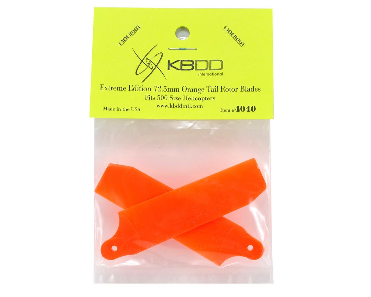 KBDD International Extreme Edition 72.5mm Tail Blade Set w/4mm Root (Neon Orange)