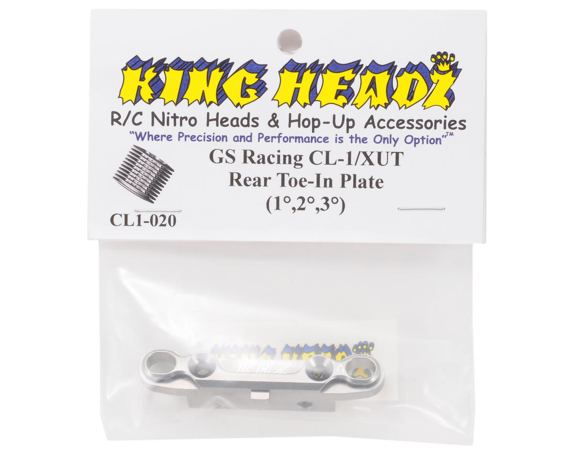 King Headz GS Racing CL-1/XUT EZ Rear Toe-In Plate (Grey) (1, 2 & 3°)