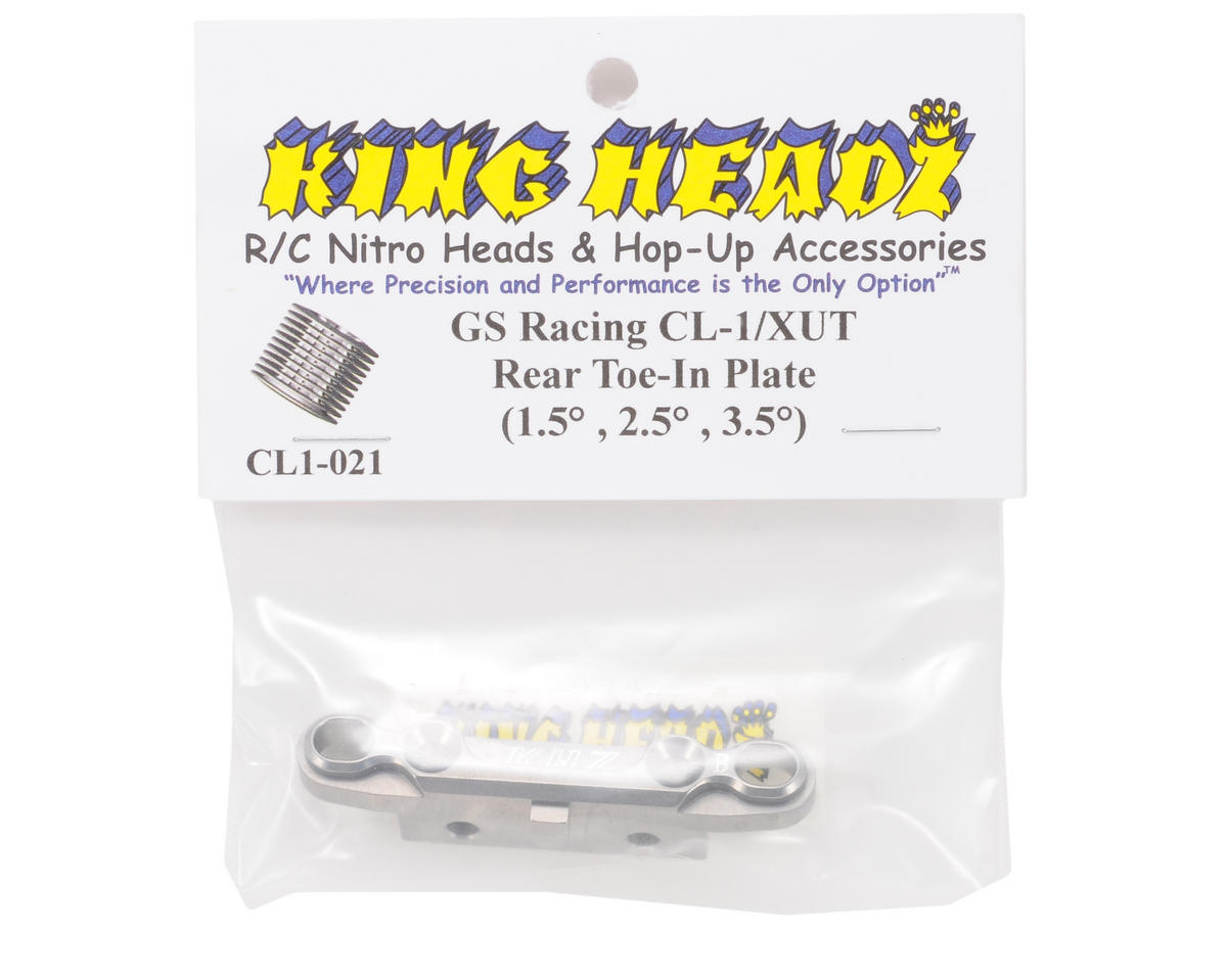 King Headz GS Racing CL-1/XUT EZ Rear Toe-In Plate (Grey) (1.5, 2.5 & 3.5°)