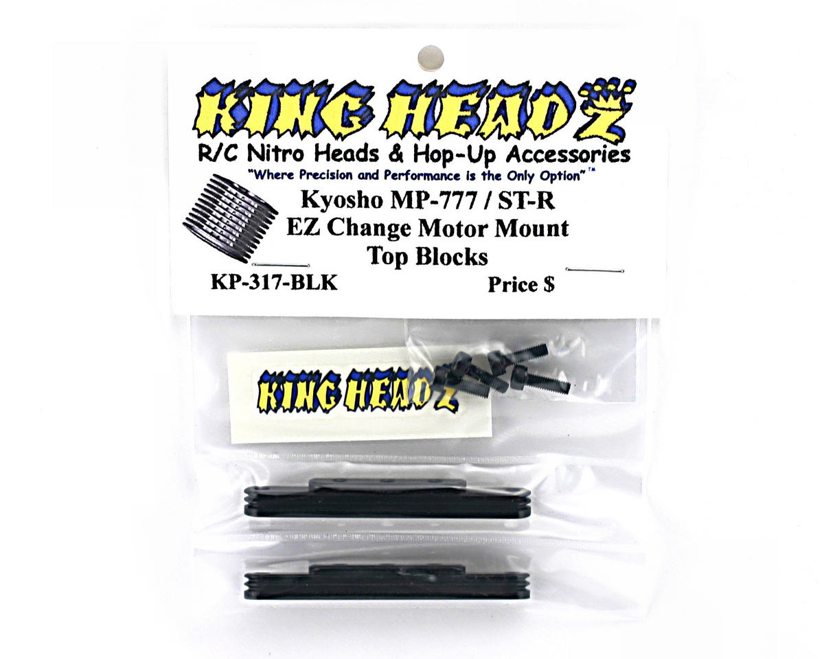 King Headz Kyosho MP777/ST-R Two Piece Motor Mount Top Blocks (Black)
