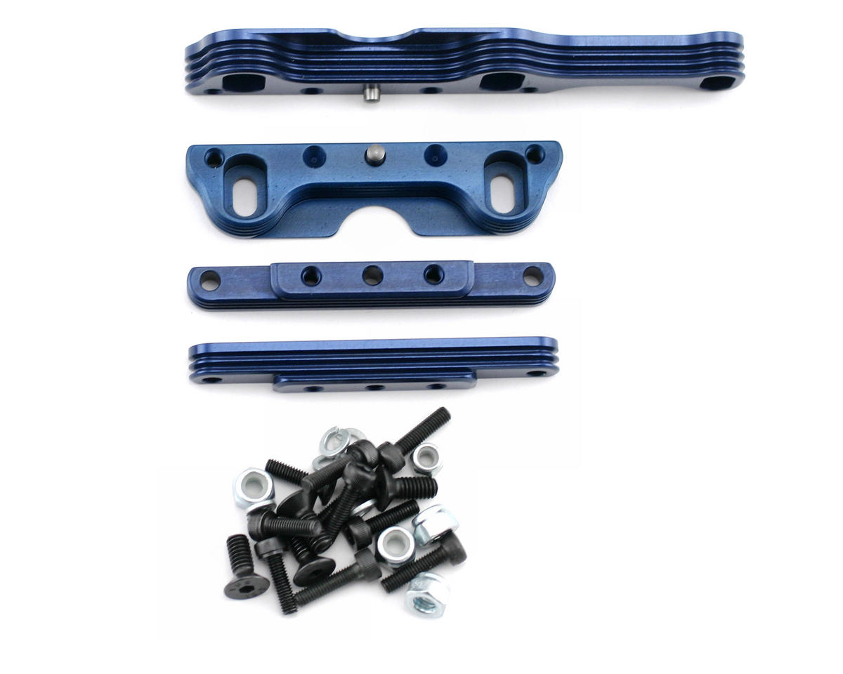 King Headz Kyosho MP777/ST-R Two Piece Extended Motor Mount (Blue)