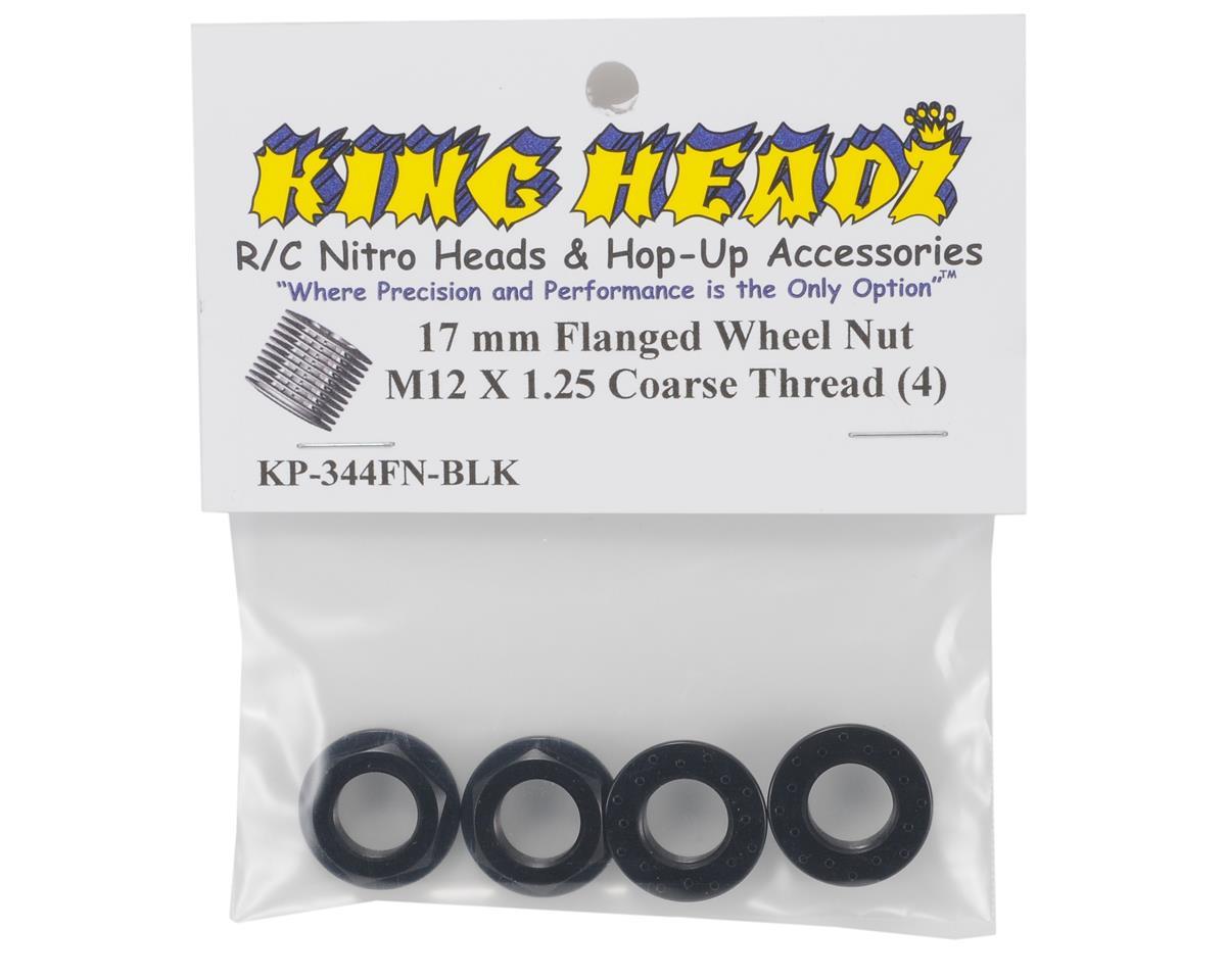 17mm Coarse Thread Flanged Wheel Nut (Black) (4) by King Headz