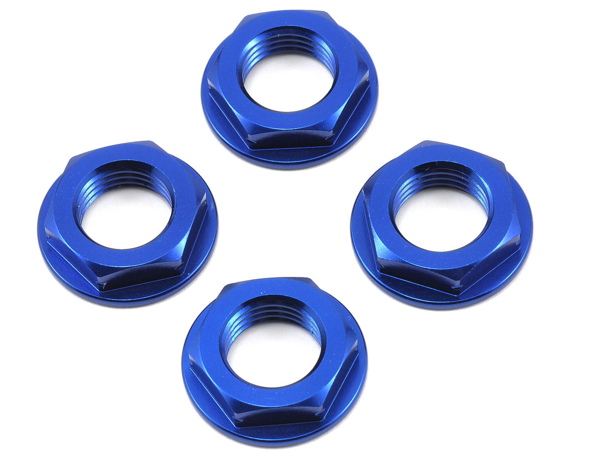 King Headz 17mm Coarse Thread Flanged Wheel Nut (Blue) (4) (OFNA Jammin X2)