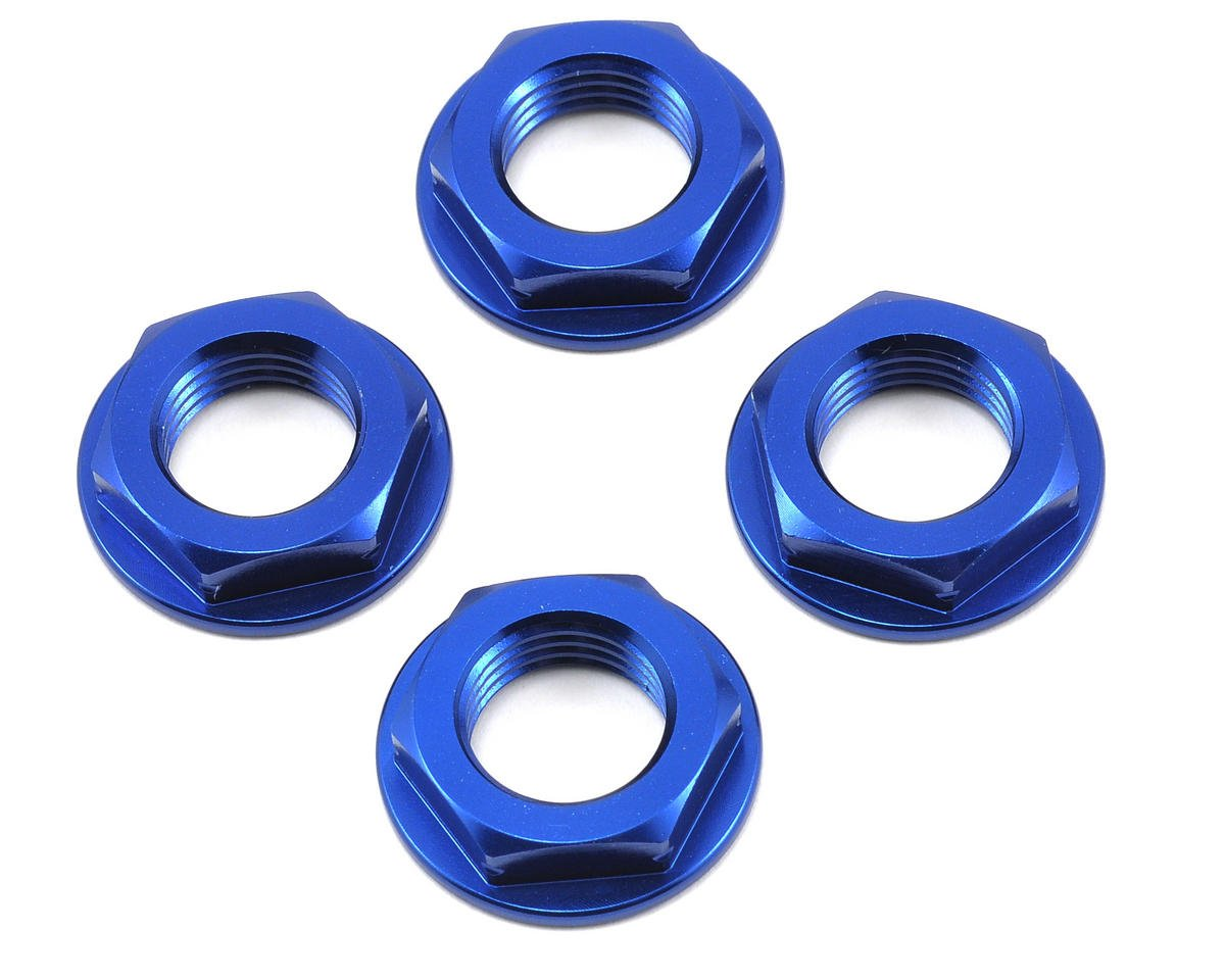 17mm Coarse Thread Flanged Wheel Nut (Blue) (4) by King Headz