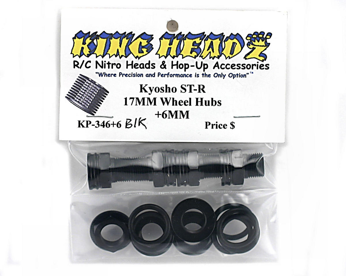 King Headz Kyosho MP-777/ST-R - 17mm Wheel Hubs - Extended +6mm (Black)