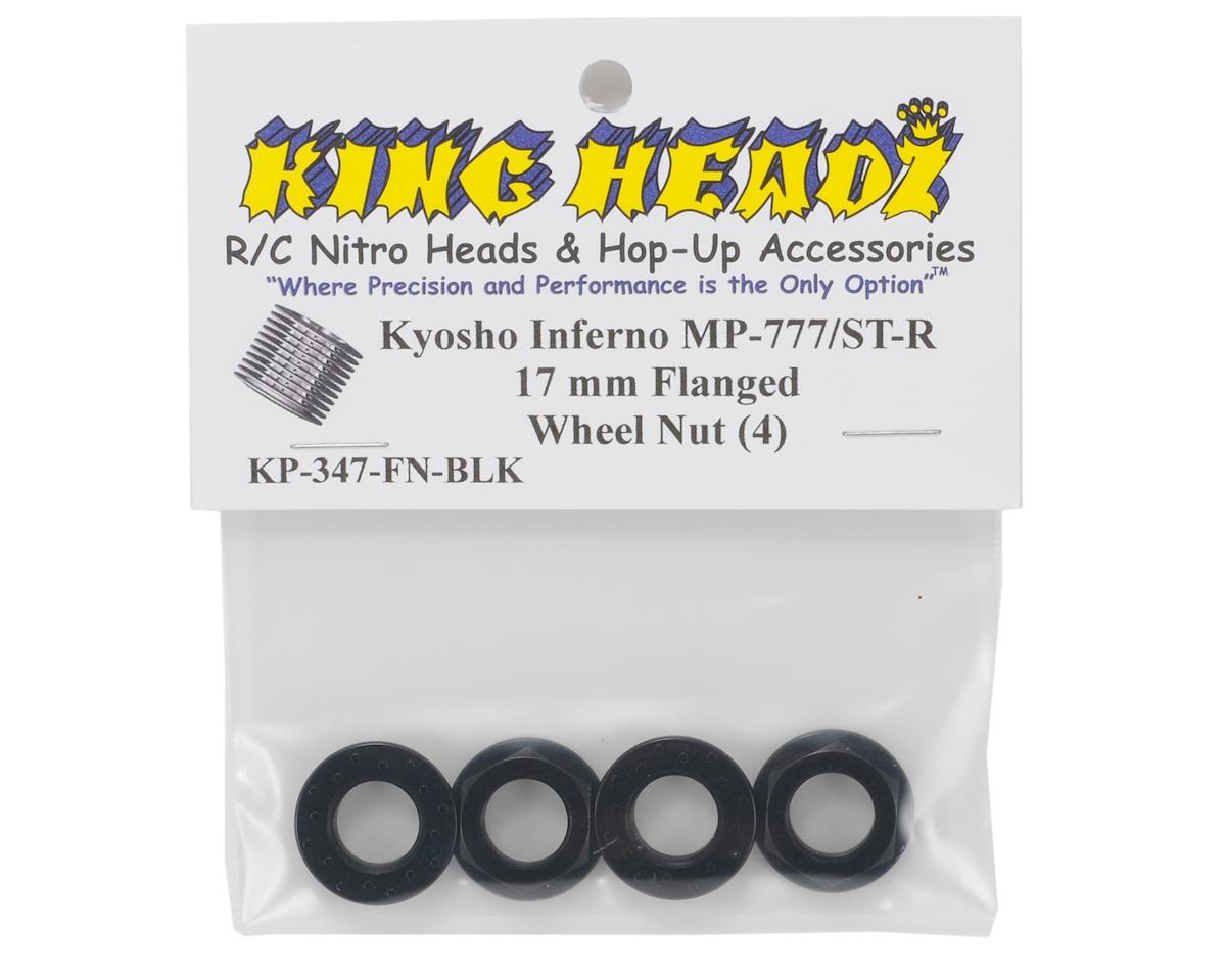 King Headz 17mm Fine Thread Flanged Wheel Nut (Black) (4)