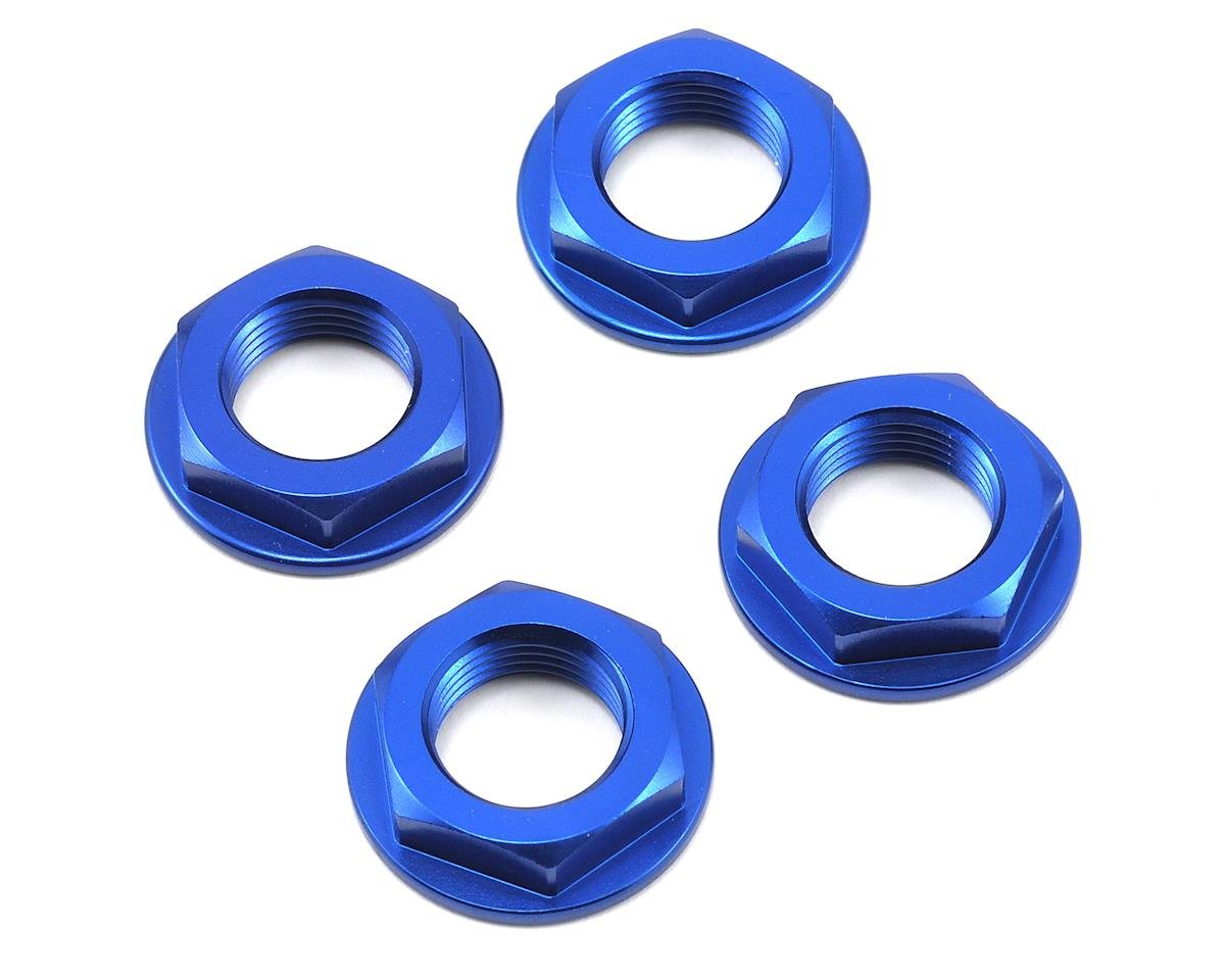 King Headz 17mm Fine Thread Flanged Wheel Nut (Blue) (4) (Kyosho Inferno VE)