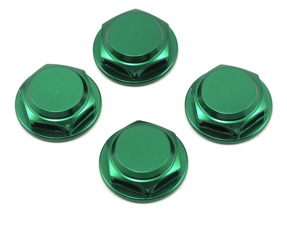 King Headz 17mm Fine Thread Flanged Closed End Wheel Nut (Green) (4) (Losi L8ight)