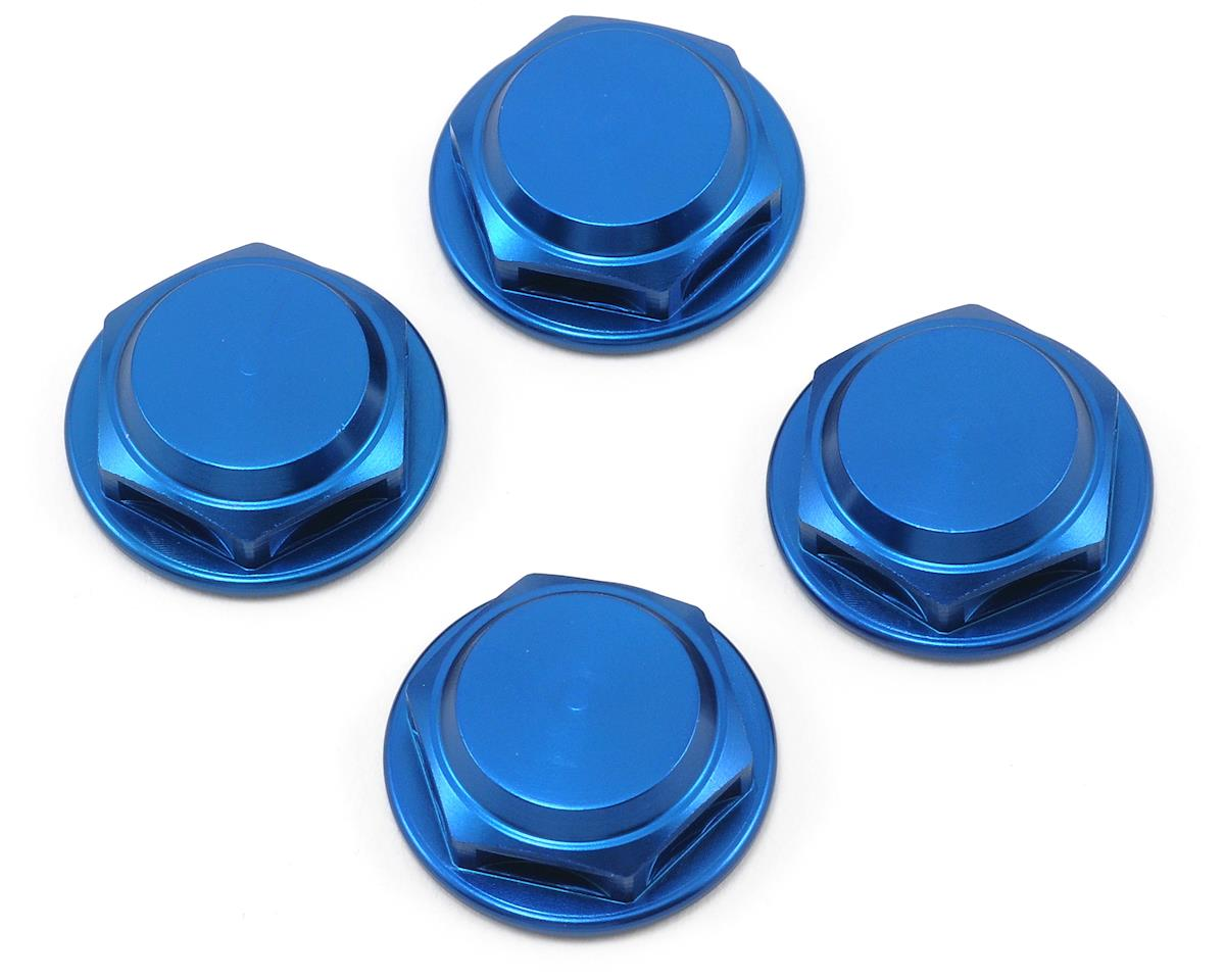 King Headz 17mm Fine Thread Flanged Closed End Wheel Nut (Blue) (4) (HB Racing Lightning Stadium)