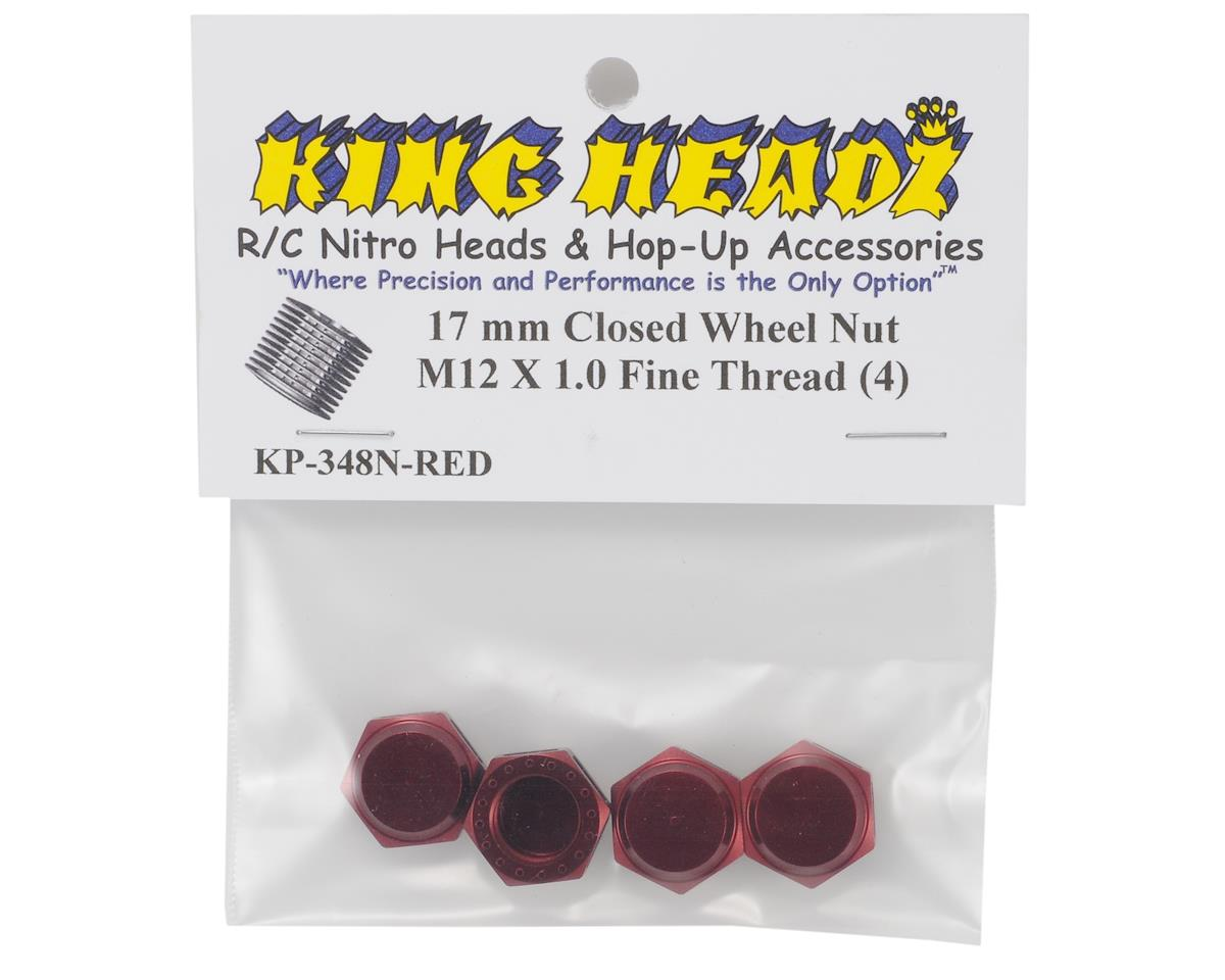 17mm Fine Thread Closed End Wheel Nut (Red) (4) by King Headz