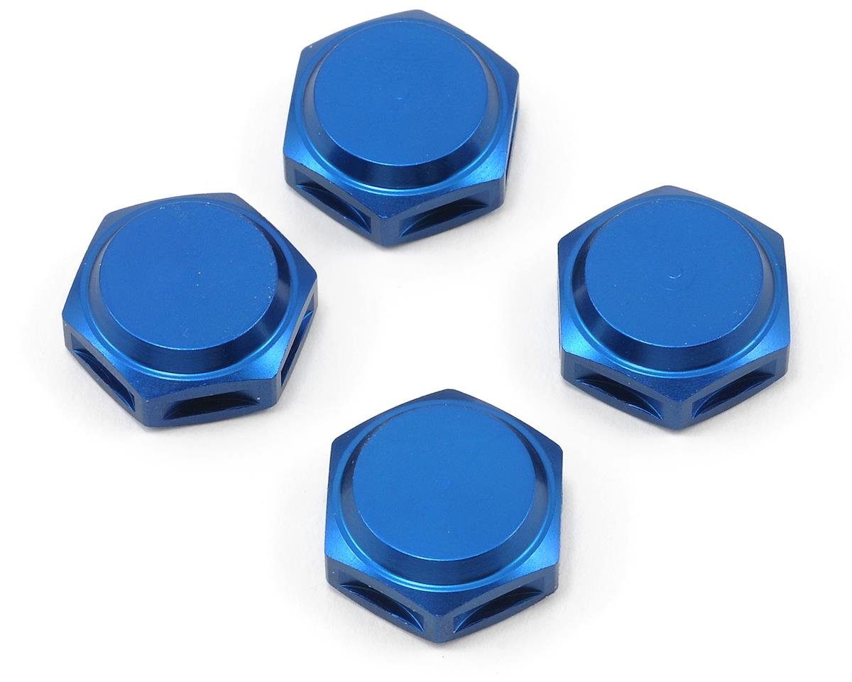 King Headz 17mm Fine Thread Closed End Wheel Nut (Blue) (4) (Hot Bodies Lightning Pro 2)