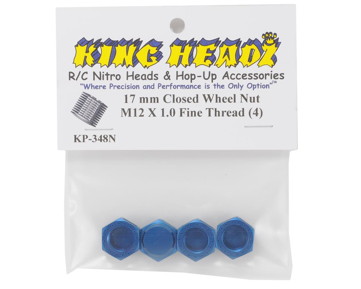 King Headz 17mm Fine Thread Closed End Wheel Nut (Blue) (4)