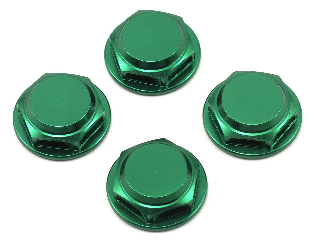 King Headz 17mm Coarse Thread Flanged Closed End Wheel Nut (Green) (4)