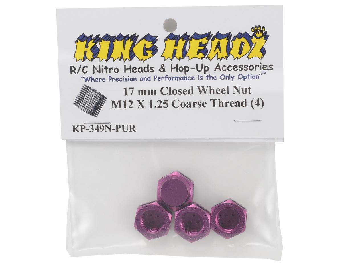 King Headz 17mm Coarse Thread Closed End Wheel Nut (Purple) (4)