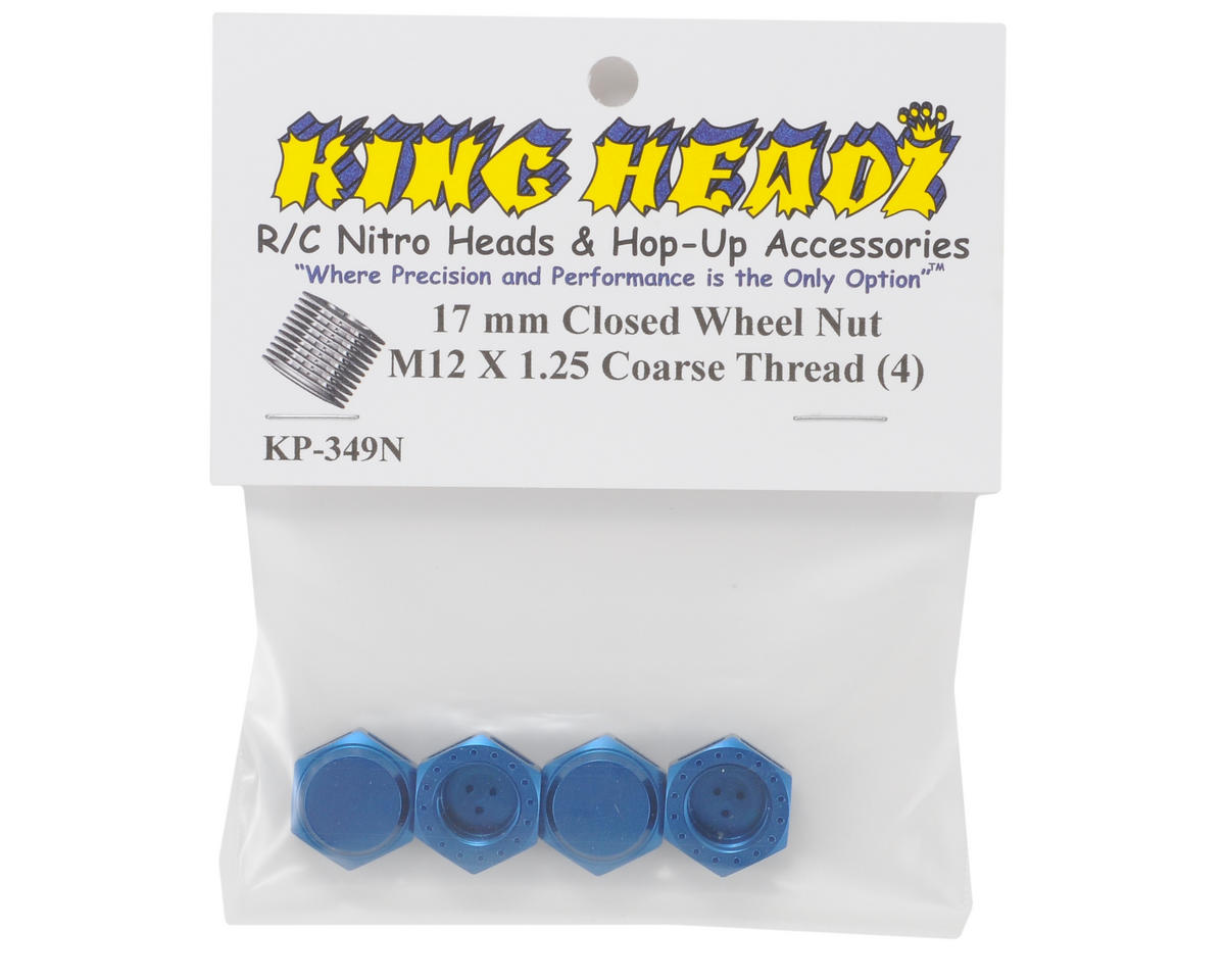 King Headz 17mm Coarse Thread Closed End Wheel Nut (Blue) (4)