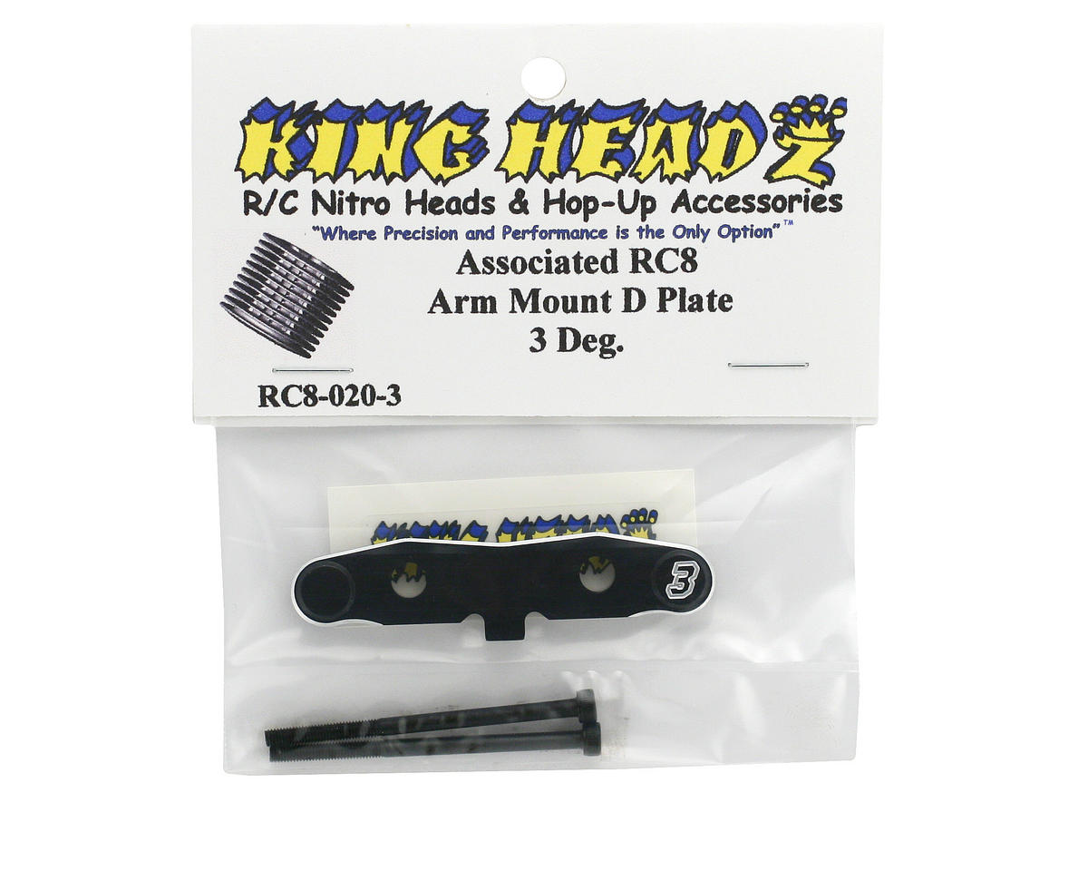 "King Headz Associated RC8 Rear Toe-In ""D"" Plate (3°)"