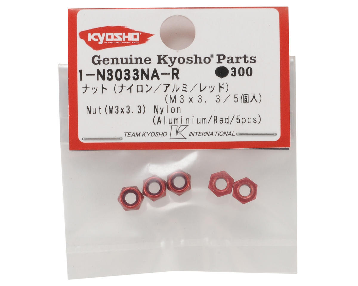 Kyosho 3x3.3mm Aluminum Nylon Nut (Red) (5)