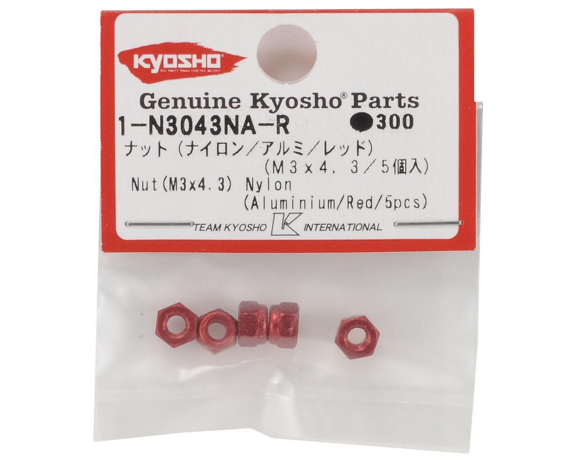 Kyosho 3x4.3mm Aluminum Locknut (Red) (5)