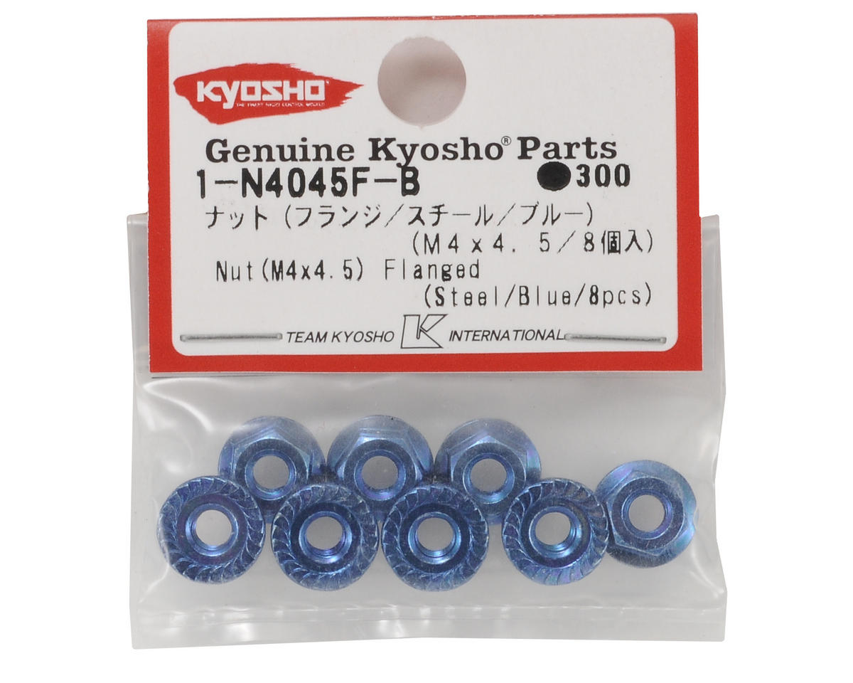 Kyosho 4x4.5mm Steel Flanged Nut (Blue) (8)