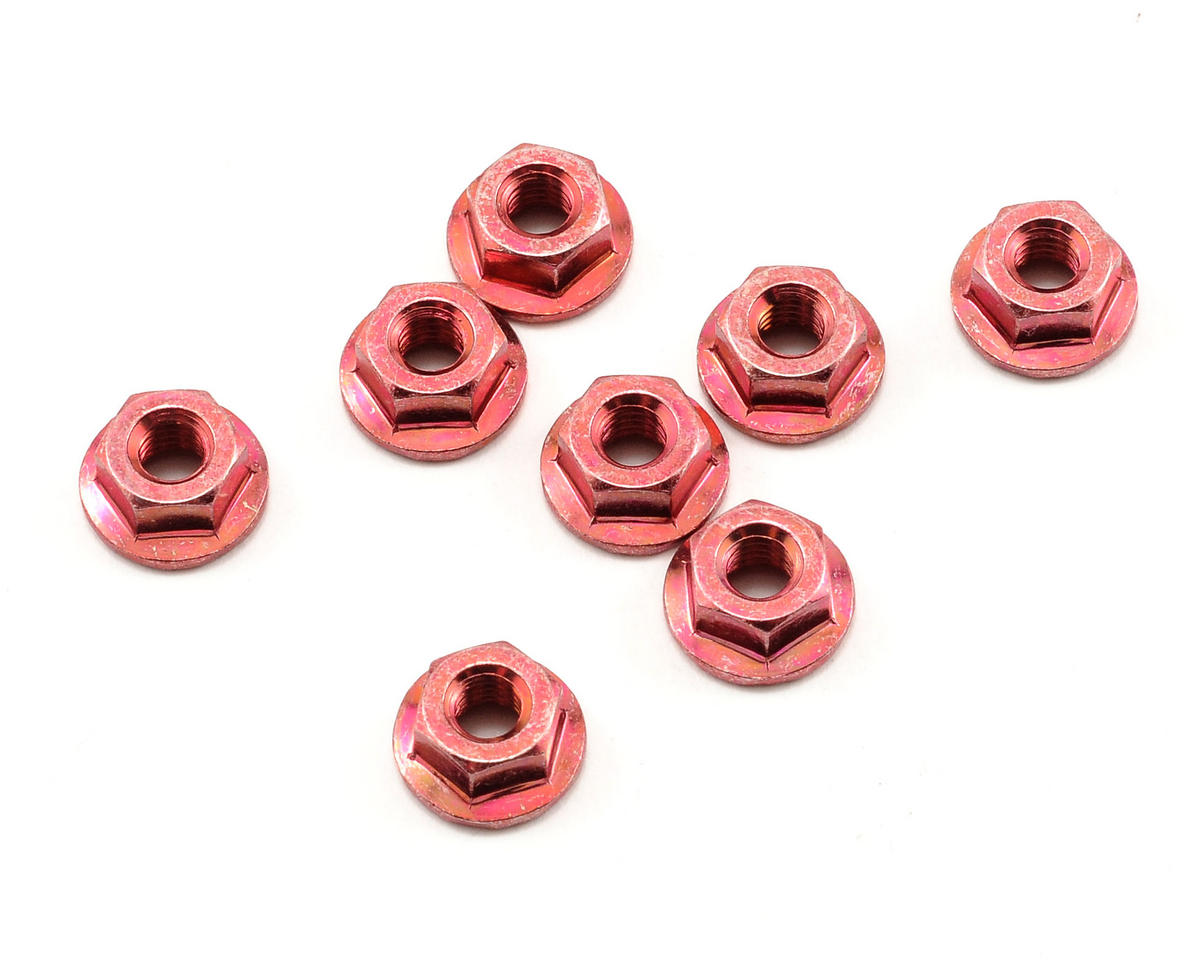 Kyosho 4x4.5mm Steel Flanged Nut (Red) (8)