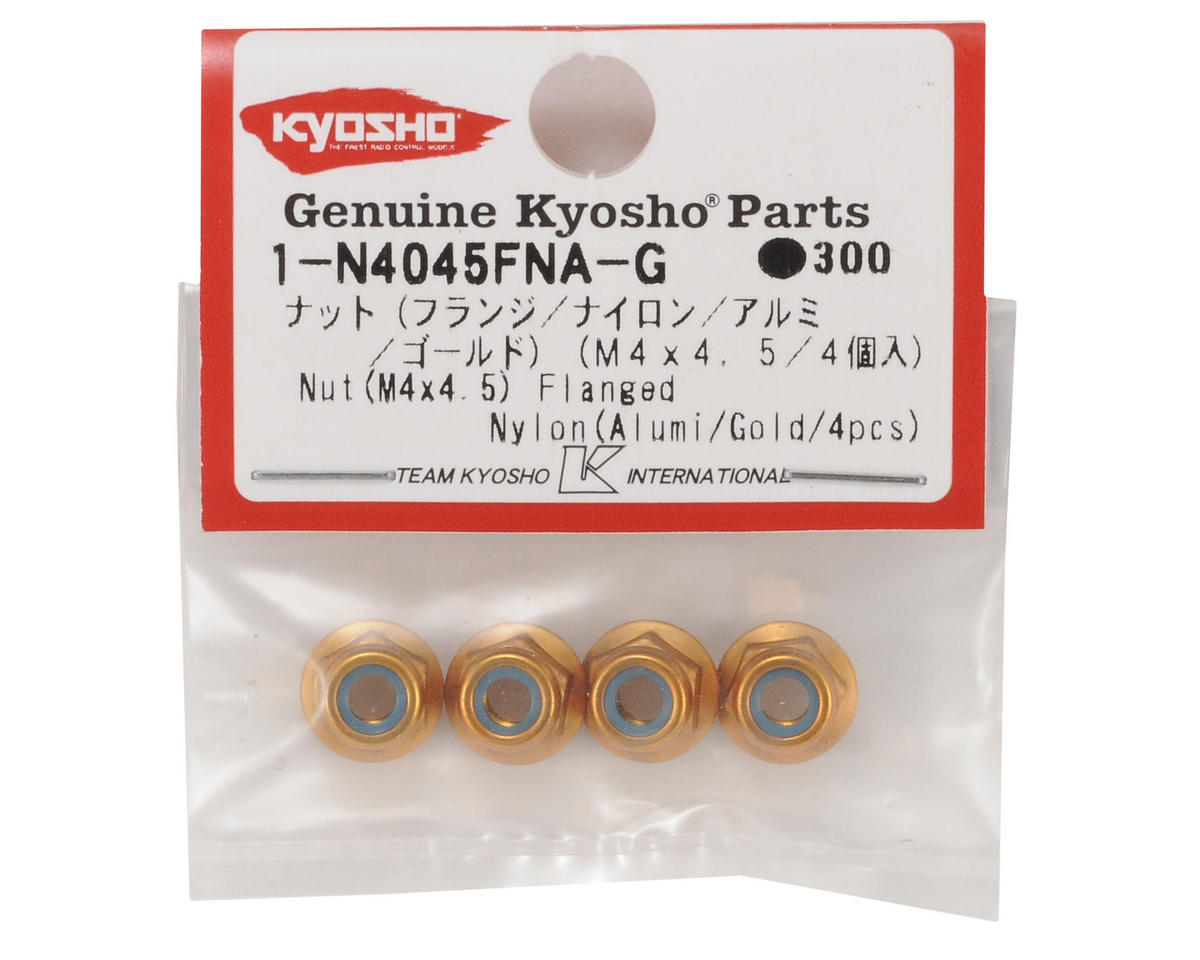 Kyosho 4x4.5mm Aluminum Flanged Locknut (Gold) (4)