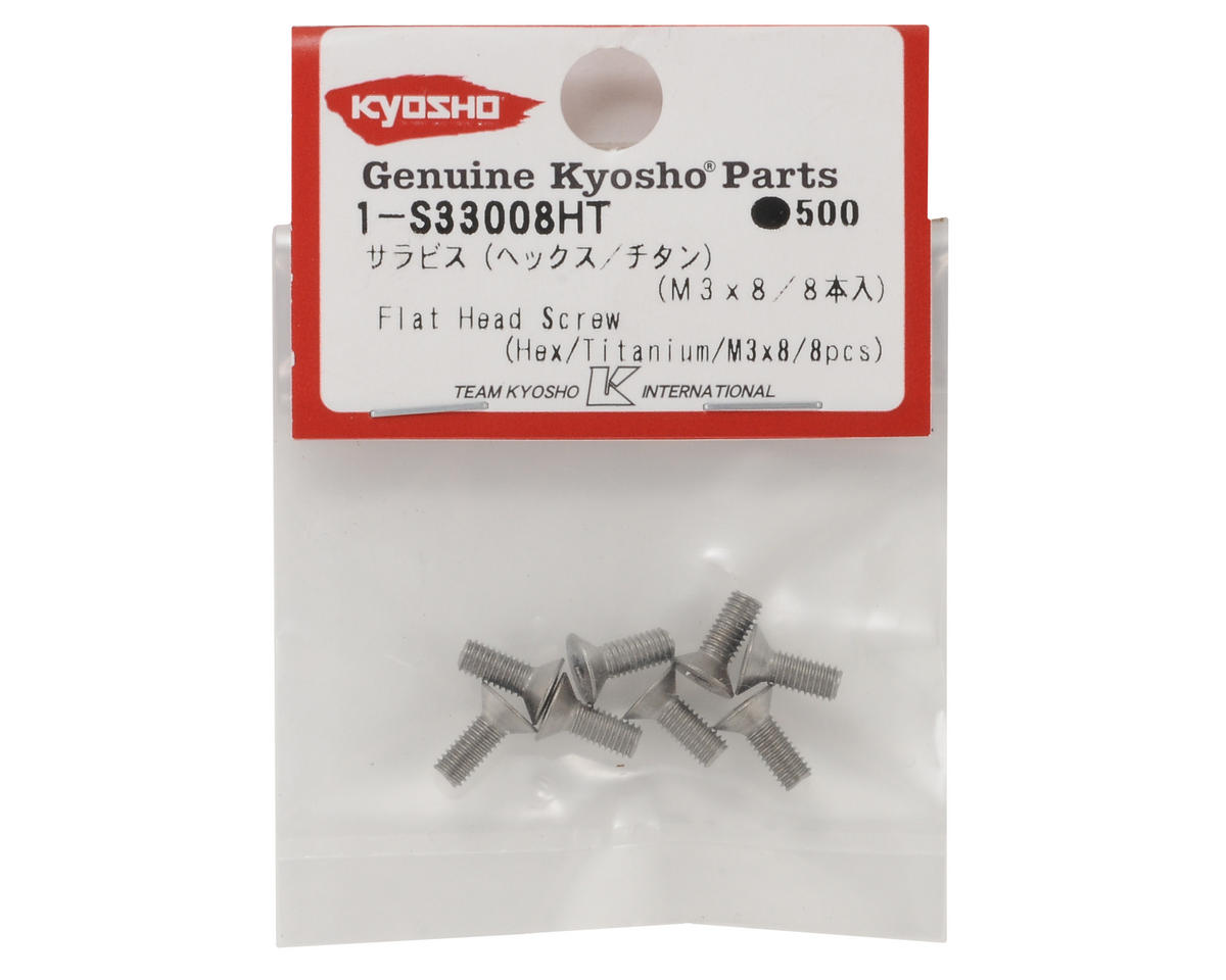 Kyosho 3x8mm Titanium Flat Head Hex Screw (8)