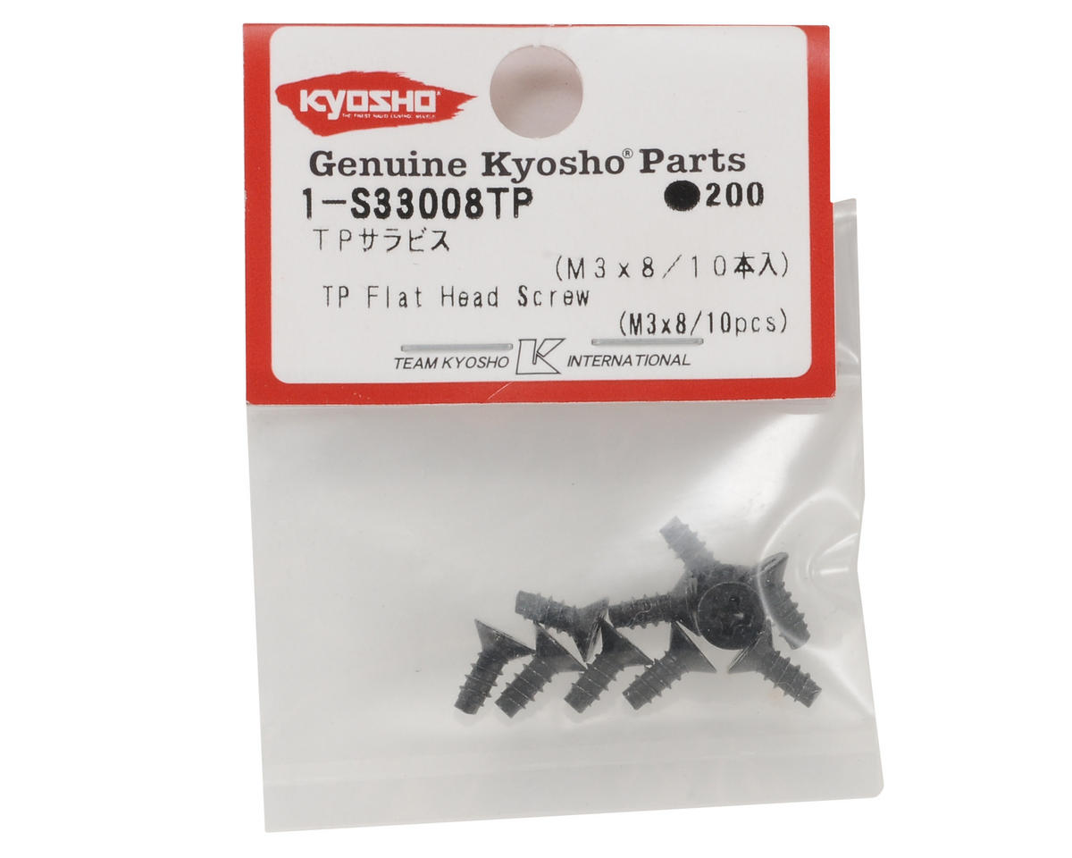 Kyosho 3x8mm Self Tapping Flat Head Phillips Screw (10)