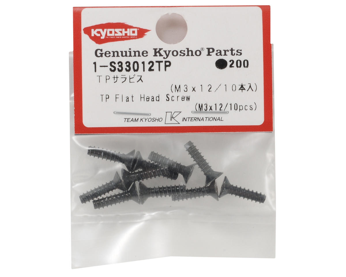 Kyosho 3x12mm Self Tapping Flat Head Phillips Screw (10)