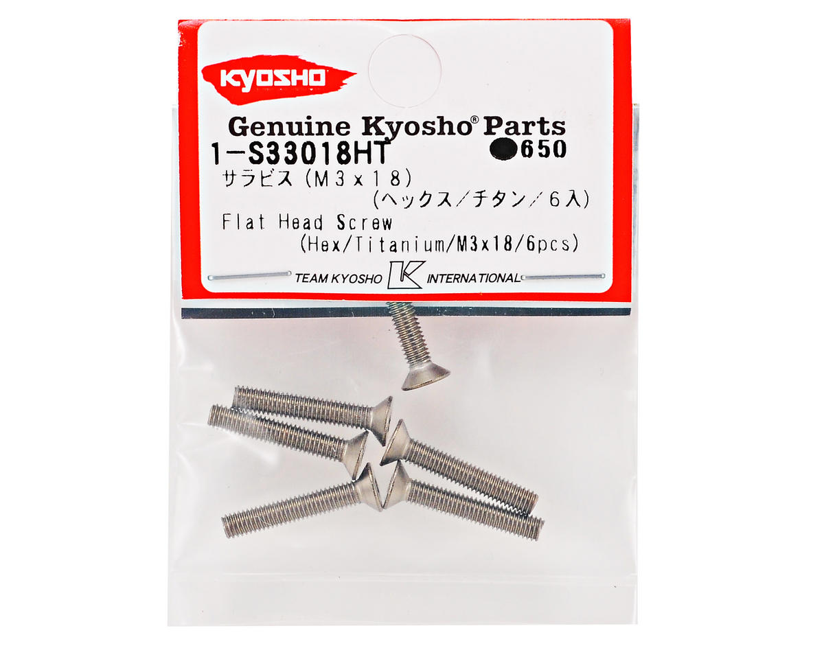 Kyosho 3x18mm Titanium Flat Head Hex Screw (6)